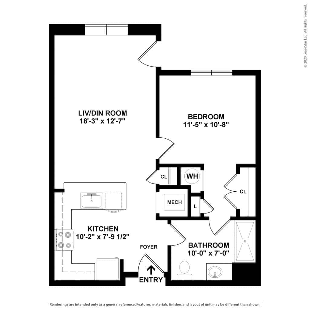1 Bedroom | 1 Bath | 646 sq. ft. | $ Call For Pricing